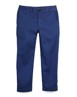Stretch-Twill Bryan Pants, Canvas Blue, Size 4-14