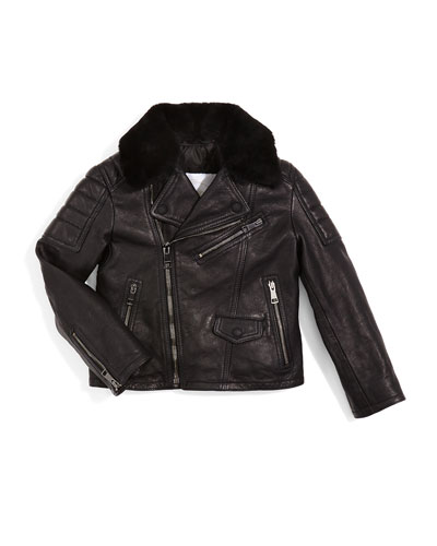 Mini Gransford Zip-Trim Leather Jacket, Black, Size 4Y-14