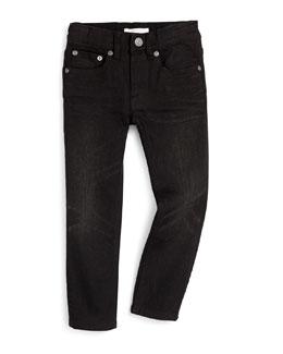 Skinny Five-Pocket Denim Jeans, Black, Size 4Y-14Y