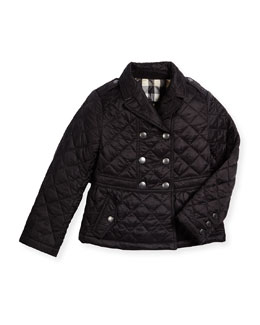 Mini Portree Military Jacket, Black, Size 4-14