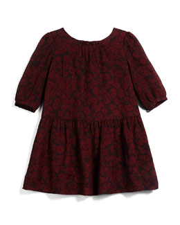 Tais Leopard-Print Silk Dress, Claret, Size 4-14