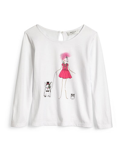 Milly Girl Long-Sleeve Jersey Tee, White, Size 4-7