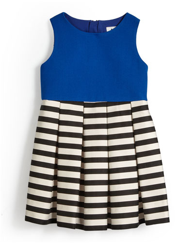Pleated A-Line Dress w/ Stripes, Cobalt, Size 4-7