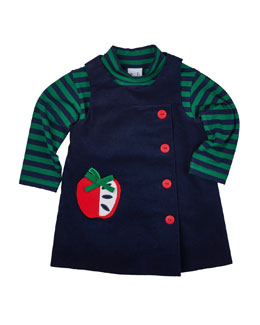 Corduroy Apple Jumper & Striped Mock-Neck Tee, Navy/Green, Size 2T-4T