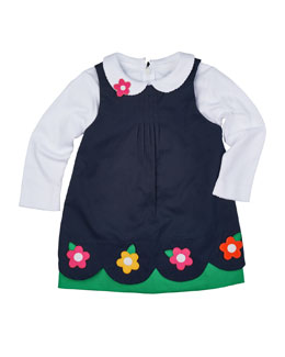 Floral-Trim Pleated Poplin Jumper & Long-Sleeve Knit Blouse, Navy/White, Size 2T-4T