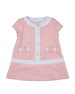 Cap-Sleeve Contrast-Trim Shift Dress, Pink/White, Size 6-18 Months