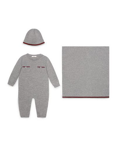 Wool Coverall, Baby Hat & Blanket, Light Gray, Size 0-18 Months