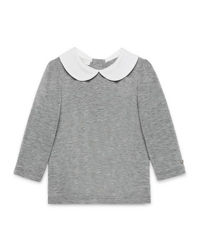 Collared Long-Sleeve Jersey Tee, Light Gray, Size 12-36 Months