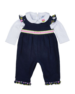 Tulip-Trim Corduroy Overalls & Long-Sleeve Knit Blouse, Navy/White, Size 6-18 Months
