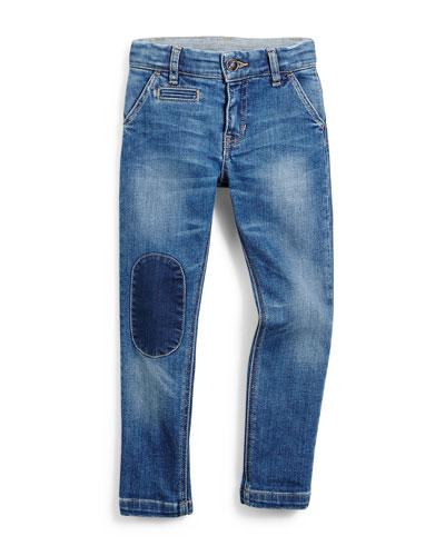 Patched Slim-Fit Denim Jeans, Blue, Size 4-12