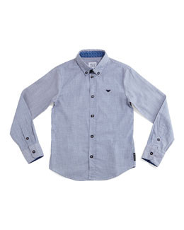 Woven Button-Front Shirt, Light Blue, Size 10-14