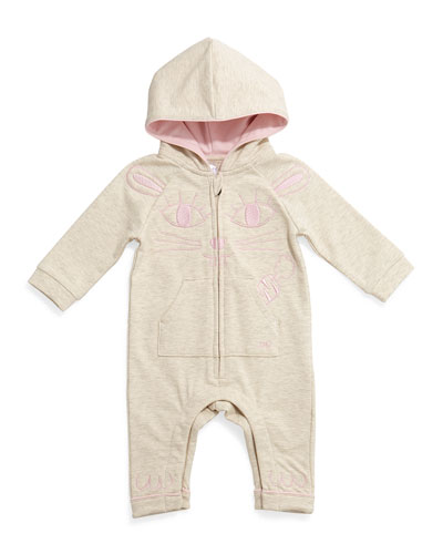 Hooded Coverall w/ Kitty Embroidery, Gray, Size 3-18 Months