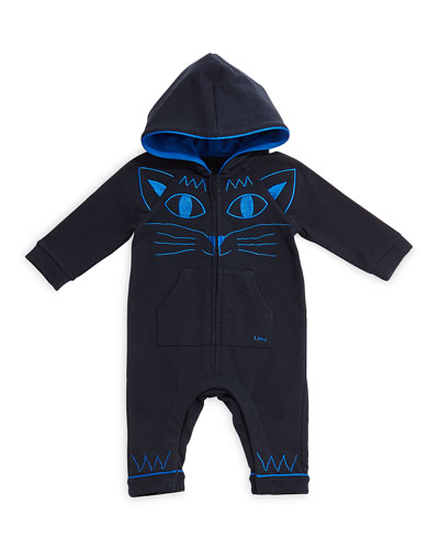 Hooded Coverall w/ Kitty Embroidery, Navy, Size 3-18 Months