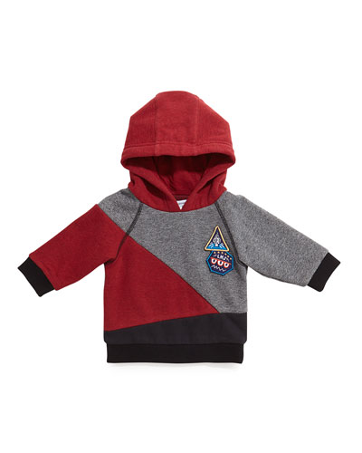 Hooded Colorblock Pullover Sweater, Red/Gray/Black, Size 18M-3
