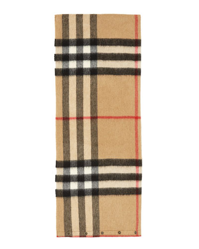 Kids' Cashmere Check Snood, Camel