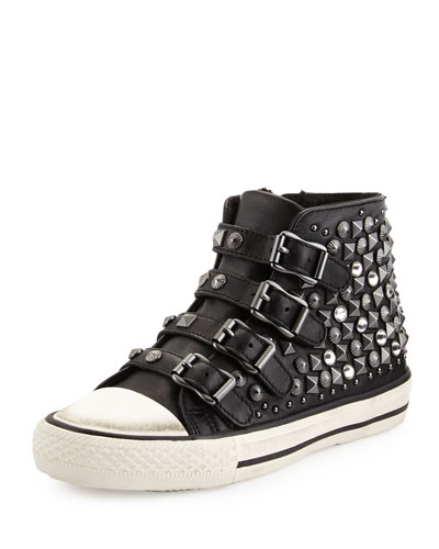 Viper Studded Leather High-Top Sneaker, Black, Youth