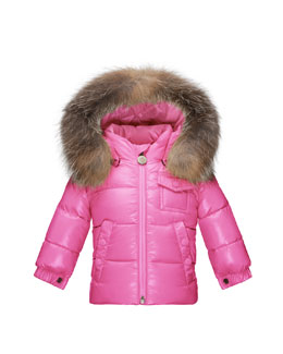 K2 Hooded Fur-Trim Puffer Coat, Pink Size 12M-3