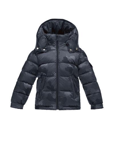Maya Camo Puffer Coat, Black, Size 4-6