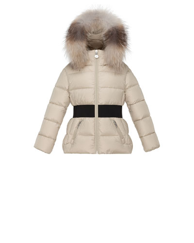 Aimee Hooded Fur-Trim Puffer Coat, Champagne, Size 8-14