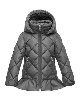 Vouglette Hooded Puffer Coat, Platinum, Size 8-14