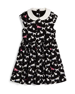 kimberly sleeveless sateen cat-print dress, black/white, size 7-14