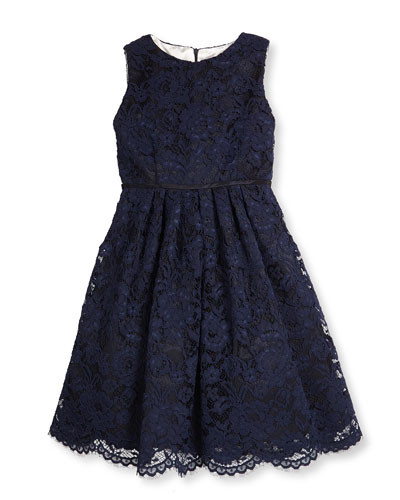 Sleeveless Lace A-Line Dress, Navy, Size 7-14