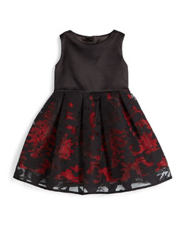 Sleeveless Pleated Organza Dress, Red, Size 4-7