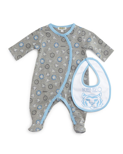 Printed Cotton Footie Pajamas & Bib, Gray/Blue, Size Newborn-9 Months