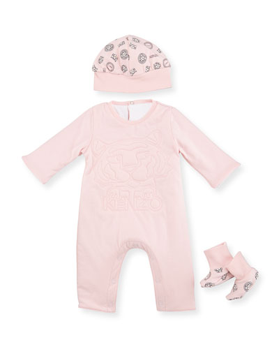 Girls' Coverall, Hat & Booties Gift Set, Light Pink, Size Newborn-9 Months