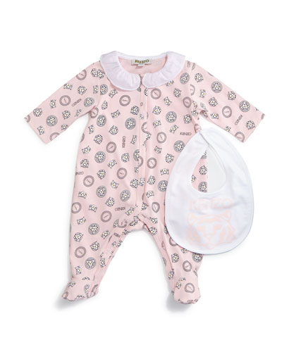 Printed Cotton Footie Pajamas & Bib, Light Pink, Size Newborn-9 Months