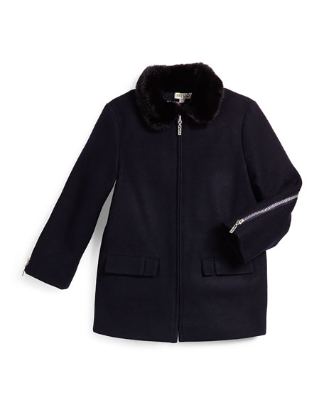 Zip-Front Wool-Blend Coat w/ Faux Fur, Marine Blue, Size 6-10