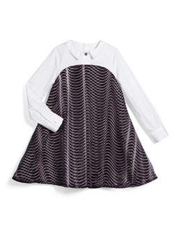Long-Sleeve Poplin & Ponte Illusion Dress, Black, Size 14-16