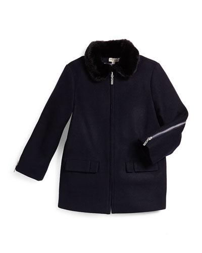 Zip-Front Wool-Blend Coat w/ Faux Fur, Marine Blue, Size 14-16