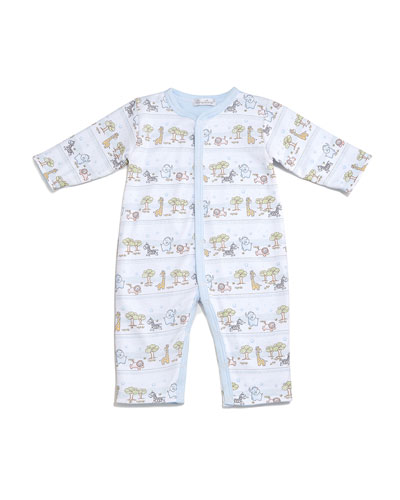 Jungle Menagerie Reversible Pima Coverall, Light Blue, Size 3-12 Months