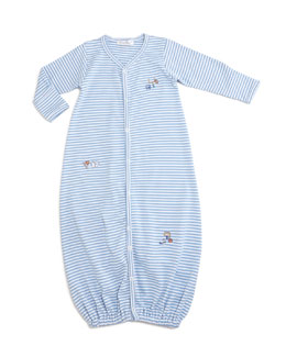 Sports Fan Striped Convertible Sleep Gown, Light Blue, Size Newborn-Small