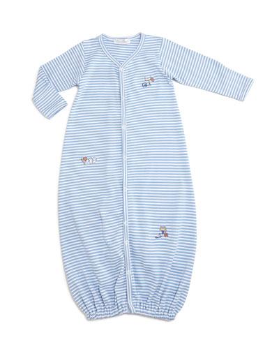 Sports Fan Striped Convertible Sleep Gown, Light Blue, Size Newborn-Small
