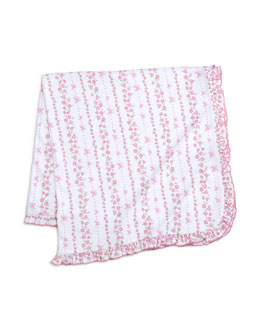 Rosebud Ribbons Pima Baby Blanket, Pink/White