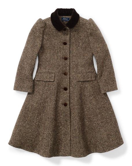 Wool Herringbone Prince Peacoat, Brown, Size 2T-6X