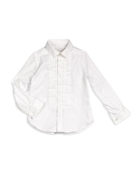 Burberry Cotton Tuxedo Shirt, White, Size 4-14