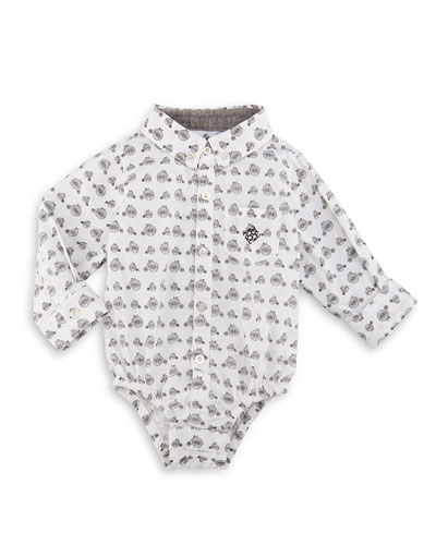 Long-Sleeve Cotton Bicycle-Print Shirtzie™, White, Size 6-24 Months