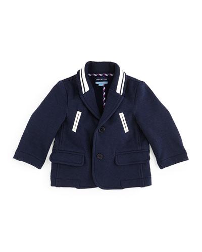Striped-Trim Varsity Blazer, Navy, Size 6-24 Months