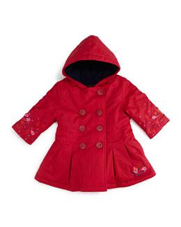 Hooded Fleece-Lined Trenchcoat, Fuchsia, Size 6M-2