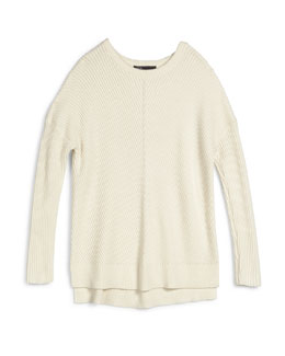 Long-Sleeve Ribbed Cotton-Blend Sweater, Mist, Size S-XL