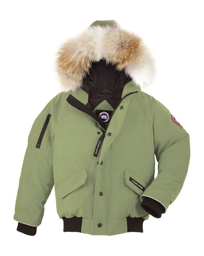 Rundle Hooded Down Bomber Jacket, Arctic Tundra, Size XS(6-7)-XL(12-14)