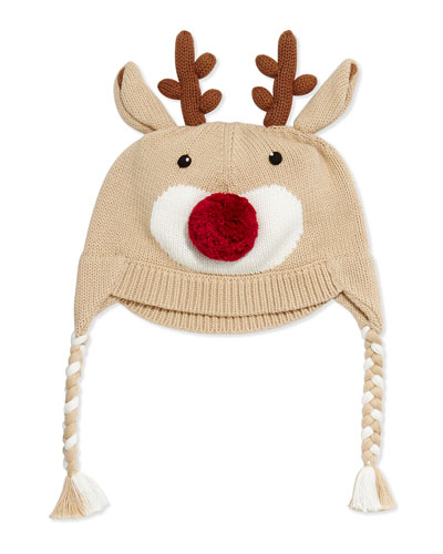 Knit Reindeer Hat, Brown