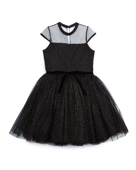 Glittered Cap-Sleeve Tulle Dress, Black, Size 8-14
