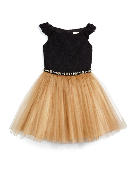 Sleeveless Lace & Tulle A-Line Dress, Black/Bronze, Size 8-14