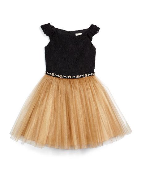 Sleeveless Lace & Tulle A-Line Dress, Black/Bronze, Size 8-14