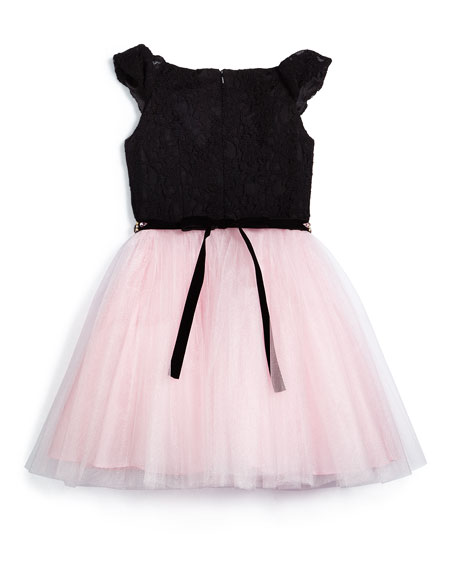 Sleeveless Lace & Tulle A-Line Dress, Black/Pink, Size 8-14