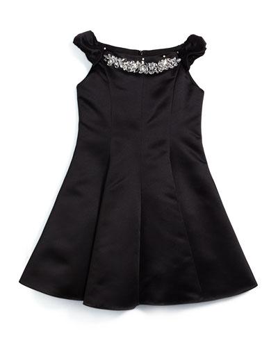 Sleeveless Satin Swing Dress, Black, Size 8-14